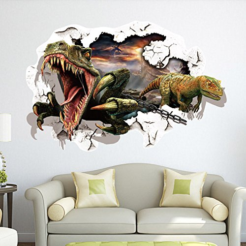 EMIRACLEZE Christmas Gift Hot Sale Christmas Gift 3d Dinosaur Removable Mural Wall Stickers Wall Decal for Kids Children Room Home Decor
