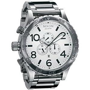Nixon 1100 A083 - Reloj cronógrafo de caballero de cuarzo con correa de acero inoxidable plateada