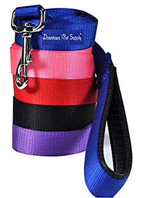Strong Durable Dog Leash Lead, (Blue, Red, Black, Purple, Pink - 6-ft, 4-ft, 2-ft), by Downtown Pet Supply