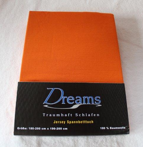 Dreams 100% Baumwolle Jersey Spannbettlaken Farbe Orange Größe 180 x 200 bis 200 x 200 cm Spannbettuch Spannlaken mit Rundumgummi