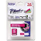 Brother Laminated Tape, 12mm (0.47 Inch), White on Berry Pink (TZeMQP35) - Retail Packaging