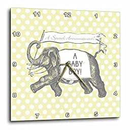 3dRose dpp_220176_3 Vintage Elephant Baby Boy Announcement Over Yellow Polka Dots-Wall Clock, 15 by 15\