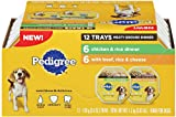 Pedigree Assorted Mulitpack 12ct- 6 units Chicken & Rice, 6 units Beef, Rice, Cheese