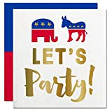 American Political Election Day Let's Party! Elephant & Donkey Mascot Design Party Cocktail Napkins 12 COUNT