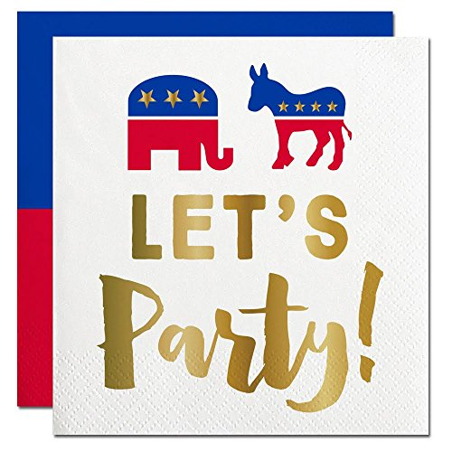American Political Election Day Let's Party! Elephant & Donkey Mascot Design Party Cocktail Napkins 12 COUNT (Napkins British compare prices)