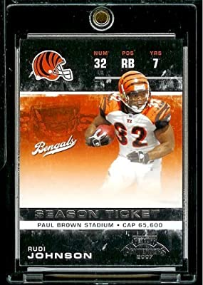 2007 Playoff Contenders #23 Rudi Johnson - Cincinnati Bengals - NFLFootball Trading Card in Protective Screwdown Display Case