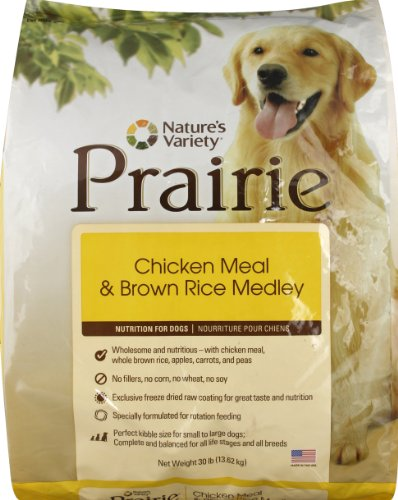 Nature&#8217;s Variety Prairie Dry Dog Food, Chicken Meal &#038; Brown Rice Medley, 30-Pound Bag