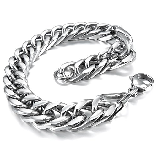 munkimix-acero-inoxidable-pulsera-brazalete-eslabones-link-enlace-muneca-plata-pulido-hombre