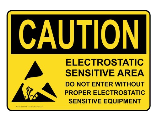 Compliancesigns Aluminum Osha Caution Sign, 10 X 7 In. With Esd / Static Info In English, Yellow