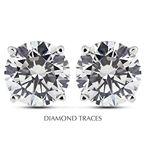 0.78 Carat Round Natural Diamond AGI Certified I-VS2 Ideal Cut 14k White Gold 4-Prong Setting Basket Style Studs Earrings