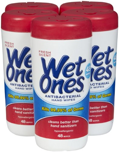 Wet Ones - Amazing Antibacterial Wipes For Hand Sanitizer, Unscented Natural Moist Towelettes Wipe Best Use For Baby, Kids, And Travel. Come As A Case Of 12 Individual Packs. Bonus, Each Pack Come With Addition 20% Wipes, Total Is 48 Wipes. Guarantee To G front-1071078