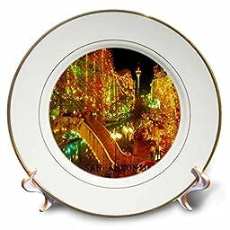 3dRose cp_62235_1 Beautiful San Antonio Riverwalk at Night - Porcelain Plate, 8\