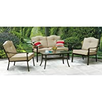Mainstays Brookwood Landing 4-Piece Patio Conversation Set, Tan, Seats 4 from Mainstays