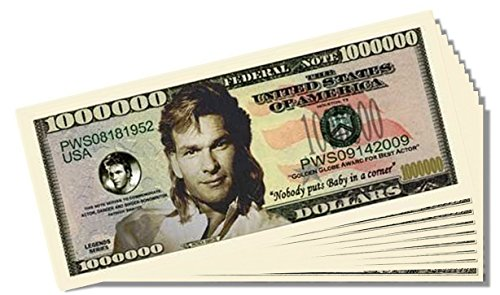 Patrick Swayze Million Dollar Bill - 10 Count with Bonus Clear Protector & Christopher Columbus Bill