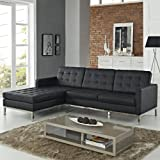 LexMod Florence Style Left-Arm Corner Sectional Leather Sofa, Black