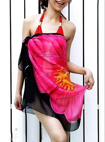 Lingerie Republic Sexy Beach Cover UP Deep V Neck Beach Dress Wrap Sarong Kaftan