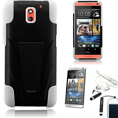 [Stop&Accessorize] Black White Dual Layer Rubber Cover T Kickstand Case For Htc Desire 612 Verizon + Free Accessories
