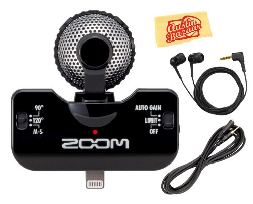 Zoom Iq5 Professional-Quality Mid-Side Stereo Microphone For Ipod, Iphone, And Ipad Bundle With Earbuds, Headphone Extension Cable, And Polishing Cloth - Black