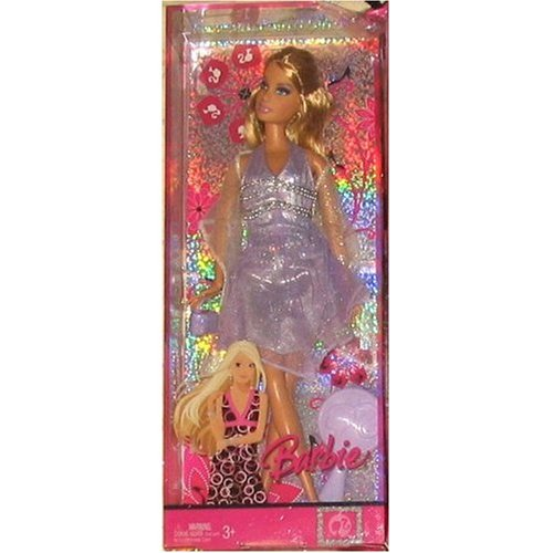 Barbie 2007 Fashion, Style And Friendship 12 Inch Doll (L9534) - Barbie With Glittering Lavender Dress With Metallic Accents, Wrap, High Heel Shoes, Purse And Hairbrush