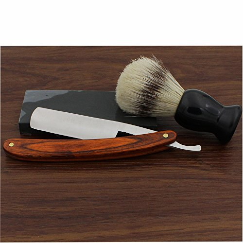 Vintage Design Barber Cut Throat Brown Long Wood Handle Straight Razor Widen Stainless Steel Blade Bristle Brush Natural Water Hone Sharpen Stone Sharpener Gift Set Manual Wet Shaving Kit