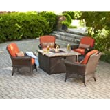 Brown Modern Steel 5 Piece Patio Conversation Seating Set with Fire Pit and Orange Cushions   Perfect Contemporary Weather Resistant 4 Lounge Chairs and a Coffee Table Furniture Set for Your Home Outdoors by the BBQ Grill, Gazebo, Garden or Deck