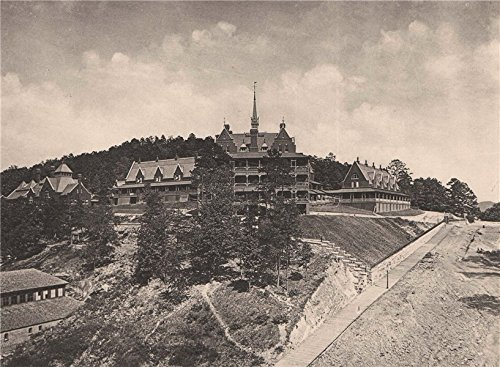 Army and Navy Hospital, Hot Springs, Arkansas. Albertype print, old print 1893