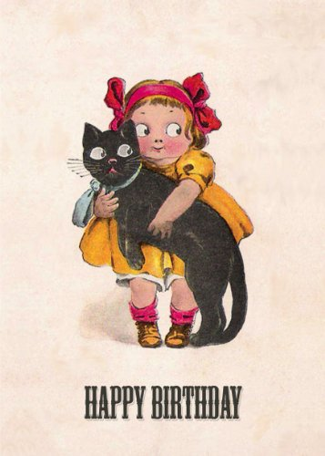 (6-Pack) Girl And Her Cat Xxth Century Birthday Card - 20162