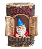 """Gnome """"Welcome"""" Garden House Outdoor Decor Stump with Solar Lights by Bo Toys"""