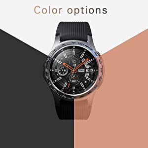 [2 Pack]JZK Samsung Galaxy watch 46mm/Gear S3 Frontier & Classic Bezel Ring Styling,Adhesive Cover Anti Scratch & Collision Protector Bezel Loop+Protector Case for Galaxy Watch 46mm Watch Accessories (Color: Silver-2, Tamaño: 46mm)