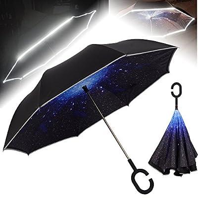 NEWBRELLAs Unique Inverted Drip Free Vehicle Reflective Strip Safety Car Umbrella - Anti-uv Sun And Rain Umbrellas - Auto-close