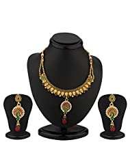 Sukkhi Peacock Gold Plated Antique Necklace Set For Women
