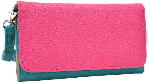 Kroo Clutch Wristlet Wallet For Smartphones Up To 5.7-Inch - Retail Packaging - Teal And Magenta