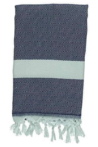 Kuru Towels - Turkish Home Towels - 100% Cotton Premium Quality Multipurpose Peshtemal- Fast Drying & Easy Storage - Great for the Bathroom, Spa, Shower, Bath, after Exercise - Diamond Navy (Pottery Barn Cabinet compare prices)