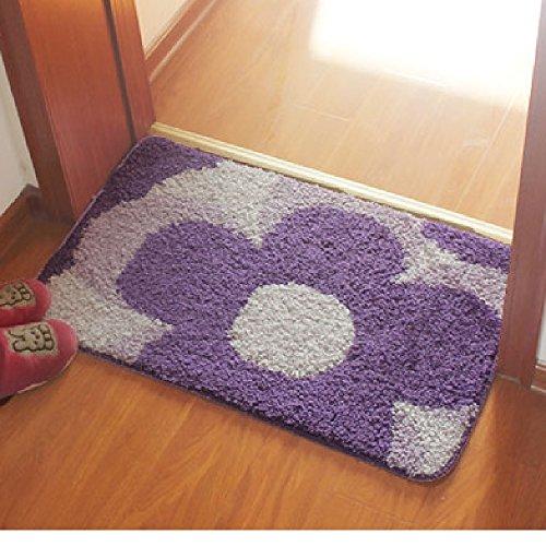 玄関 マット 屋内 室内 おしゃれ 滑り止め 付 40×60cm (紫系)