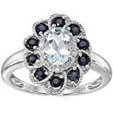 Sterling Silver Aquamarine, Blue Sapphire, and Diamond Flower Ring, Size 6