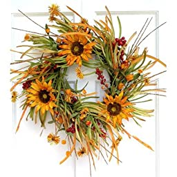 Mills Floral Sunflower and Fall Grass Wreath, 24-Inch