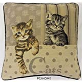 """STUNNING CUTE CATS KITTEN TAPESTRY VELVET 18"""" THICK FUNKY CUSHION COVER *AS*"""