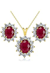 3.40 Ct Oval Red Ruby 18K Yellow Gold Plated Silver Pendant Earrings Set