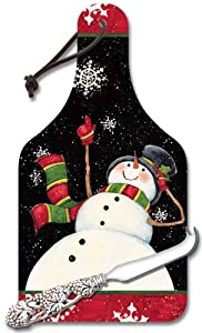 CounterArt Happy Snowmen 14-1/4-Inch Glass Cheese Cutting Board with Cheese Knife