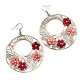 Silver Tone Pink Flower Hoop Drop Earrings - 7cm Length