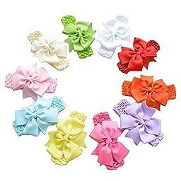 QM Baby\'s Headbands /Girl\'s Bowknot Hairband/ Newborn Hair Bows(Pack of 10)
