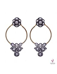925 Sterling Silver White Sapphire Rose Cut Polki Gemstone Earrings