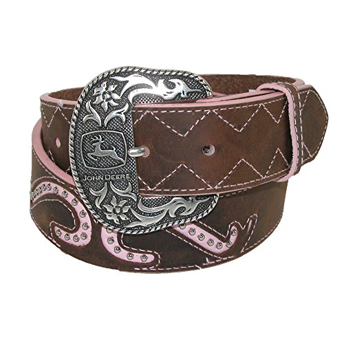 John Deere Womens Leather Pink Scroll Inlay Removable Buckle Belt, Large 34/36, Brown