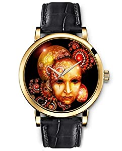 SPRAWL Classic Analog Round Face Genuine Black Leather Gold Watches Present for Women Fun Design --- Halloween Golden Floral Mask Watch by SPRAWL