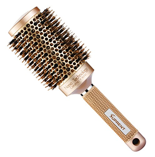 SUPRENT Nano Thermal Ceramic & Ionic Round Barrel Hair Brush with Boar Bristle, 2 inch, for Hair Drying, Styling, Curling, Adding Hair Volume and Shine, Gold Color (Hot Waves Hair Brush compare prices)