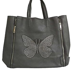 sac cabas sac de plage gris papillon butterfly en strass plus pochette en cadeau bagages. Black Bedroom Furniture Sets. Home Design Ideas