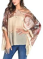 DJT Batwing T-shirt Blouse Manches 3/4 Tops Imprime en tulle Femme- Sans Débardeur