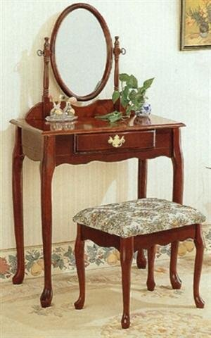 Cherry Vanity Table Set Make Up Mirror Stool