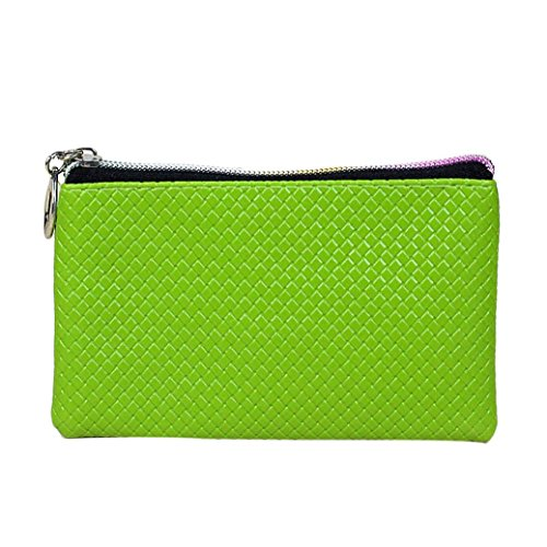 Fortan Portafogli in pelle chiusura lampo di modo della borsa della frizione della signora Long della borsa (Verde)