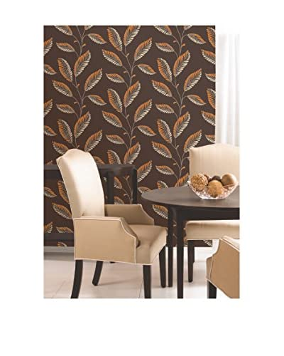 Brewster Modern Leaf Trail Strippable Wallpaper, Dark Brown